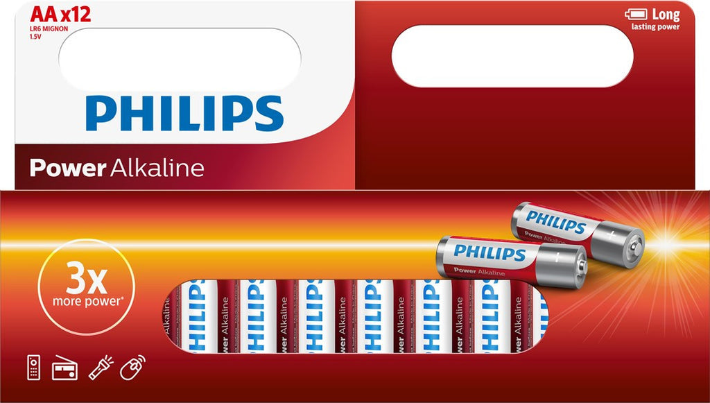 Philips Power Alkaline AA LR6 Battery - Pack of 12 - Battery Warehouse UK | Free UK Delivery on all Orders