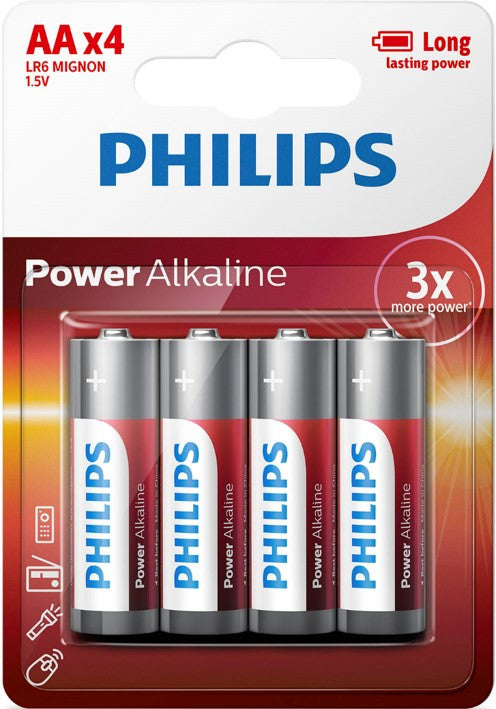 Philips Power Alkaline AA LR6 Battery - Pack of 4 - Battery Warehouse UK | Free UK Delivery on all Orders