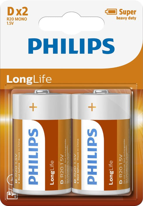 Philips Longlife Zinc D Battery - Pack of 2