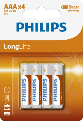 Philips Longlife Zinc AAA Battery - Pack of 4