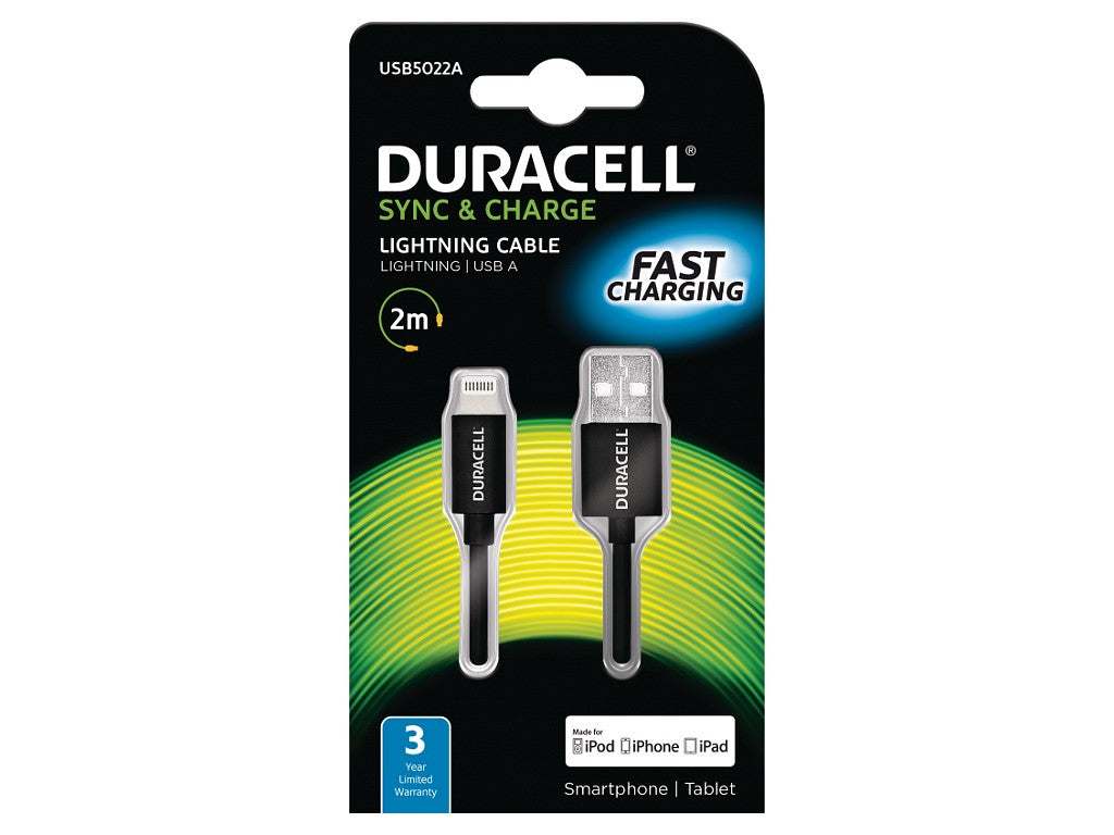Duracell Apple Lightning Sync & Charge Cable 2M (USB5022A) - Battery Warehouse UK | Free UK Delivery on all Orders