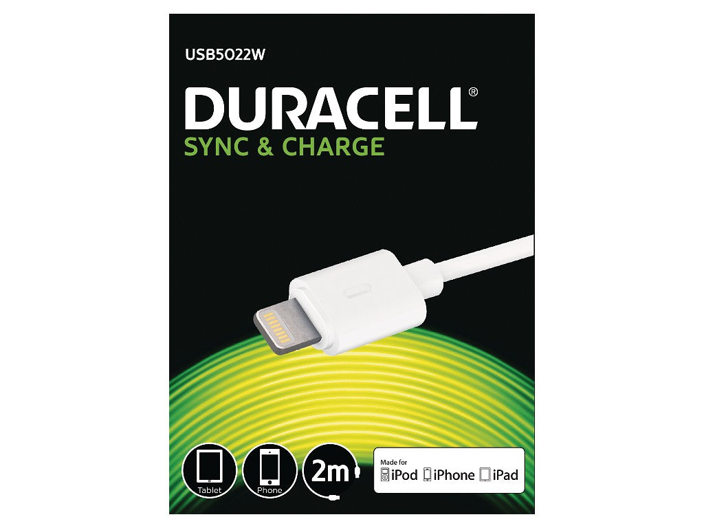 Duracell Apple Lightning Sync & Charge Cable 2M - White (USB5022W) - Battery Warehouse UK | Free UK Delivery on all Orders