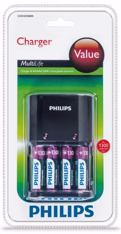 Philips Multilife Battery Charger Includes 4 x AA Batteries 1300mah - Battery Warehouse UK | Free UK Delivery on all Orders