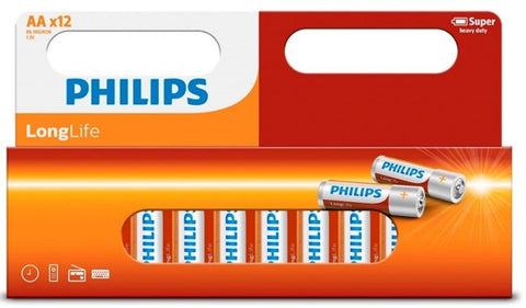 AA Philips Longlife Zinc Battery - Pack of 12 - Battery Warehouse UK | Free UK Delivery on all Orders