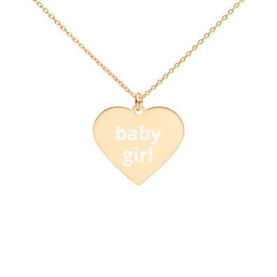Baby Girl Engraved Heart Necklace