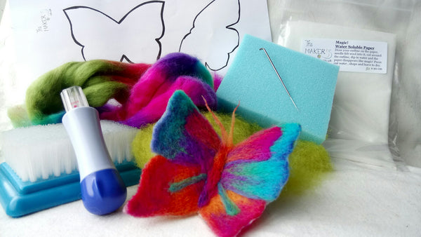 Needle felt butterfly using water soluble paper