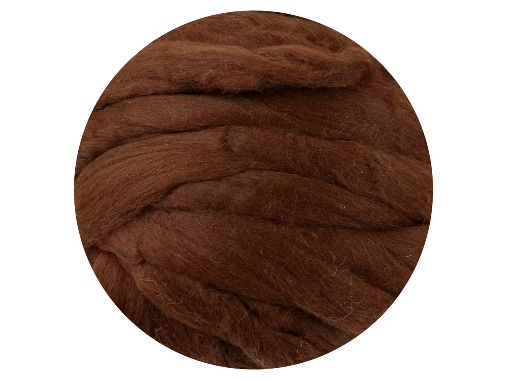 Alpaca Red/Brown Natural Wool Tops - great for angel hair