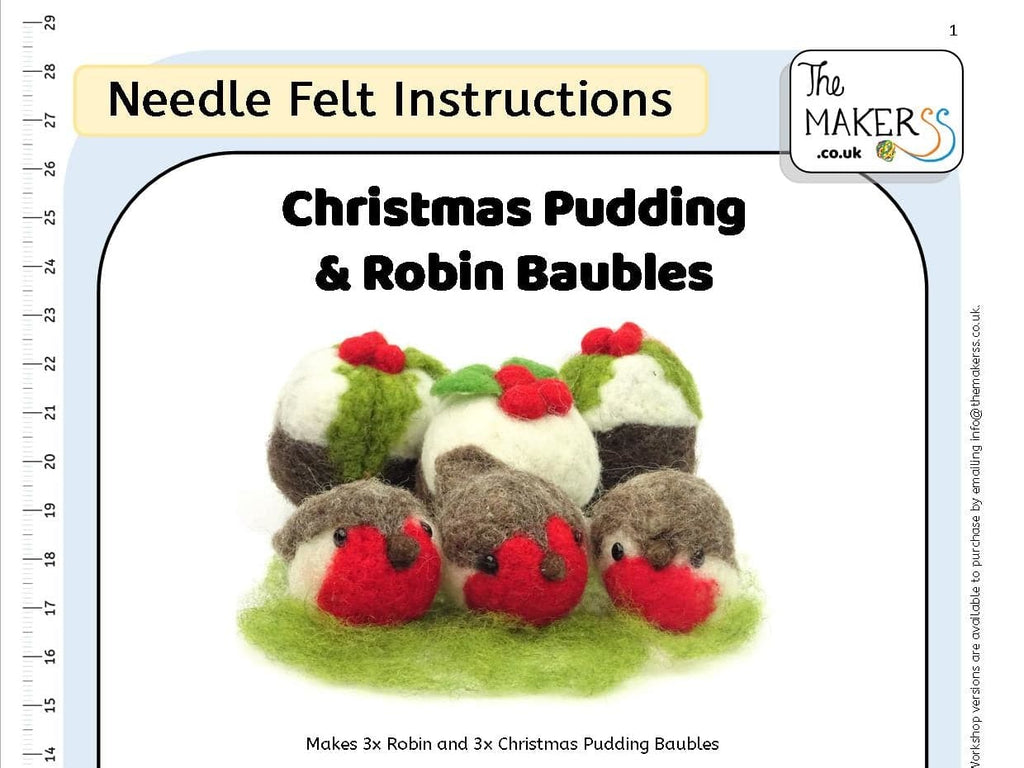 Christmas Pudding & Robin Bauble Instructions PDF