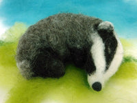 Curled Up Badger Needle Felt Kit - makes a cute sleepy badger!