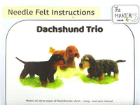 Dachshund Trio Needle Felting Pack (tools not included)