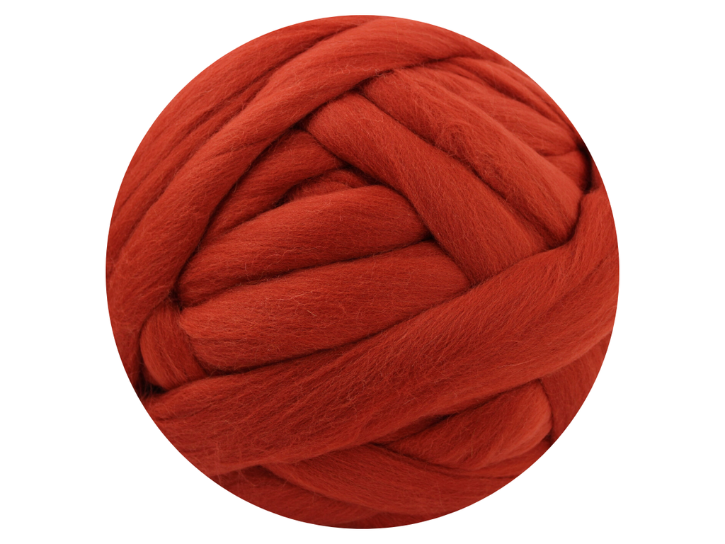 Dark Orange Tops - dyed South American Merino - various weights