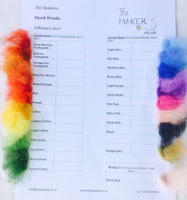 The Makerss Shade Cards -  Sample card of Felting Wool