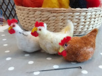 Clutch of Chickens Needle Felt Kit - makes 3 different coloured chickens