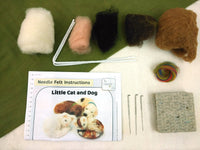 Little Cat and Dog Small Needle Felt Kit - makes 2 cats and 2 dogs