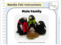 Mole Family Needle Felt Kit - makes father, mother, child and baby mole.