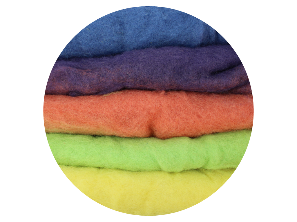 Multi-colour Natural dyed New Zealand Merino wool batts, muted natural colours, various weights