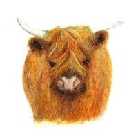 Highland Cow Painting with Wool Pack - no tools - makes 1 hairy Highland Cow design