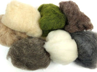 Natural Pebbles Mix - Natural Brown, Grey, Cream and Dyed Green Batts 115g