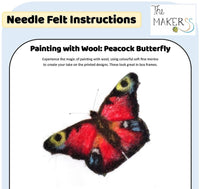 "Painting with Wool Pack ""Peacock Butterfly"" -  makes 1 pretty butterfly design"