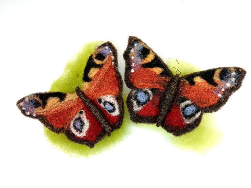 Peacock Butterfly Needle Felt Kit - makes 2 butterflies