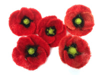 Poppy Flowers Kit - makes 5 pretty poppies with brooch backs