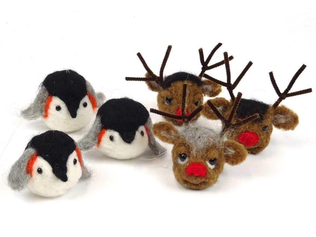 Penguin and Reindeer Bauble Pack - makes 6 tree decorations
