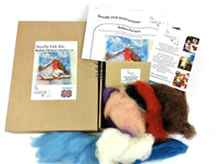 Robin Picture Needle Felting Kit - contains everything you need to make 2 pictures