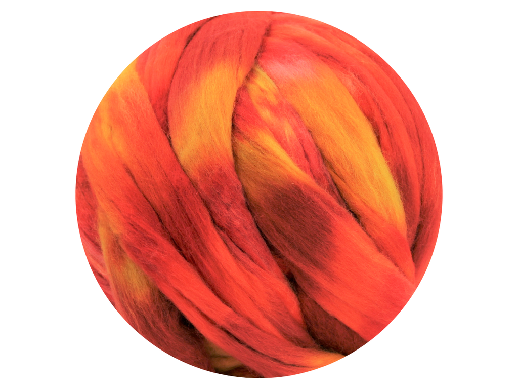 Sunset - space dyed Australian Merino tops - various weights