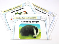 Bundle 1 - Baby Barn Owl, Clutch of Chickens, Curled Up Badger Instructions Hard Copies
