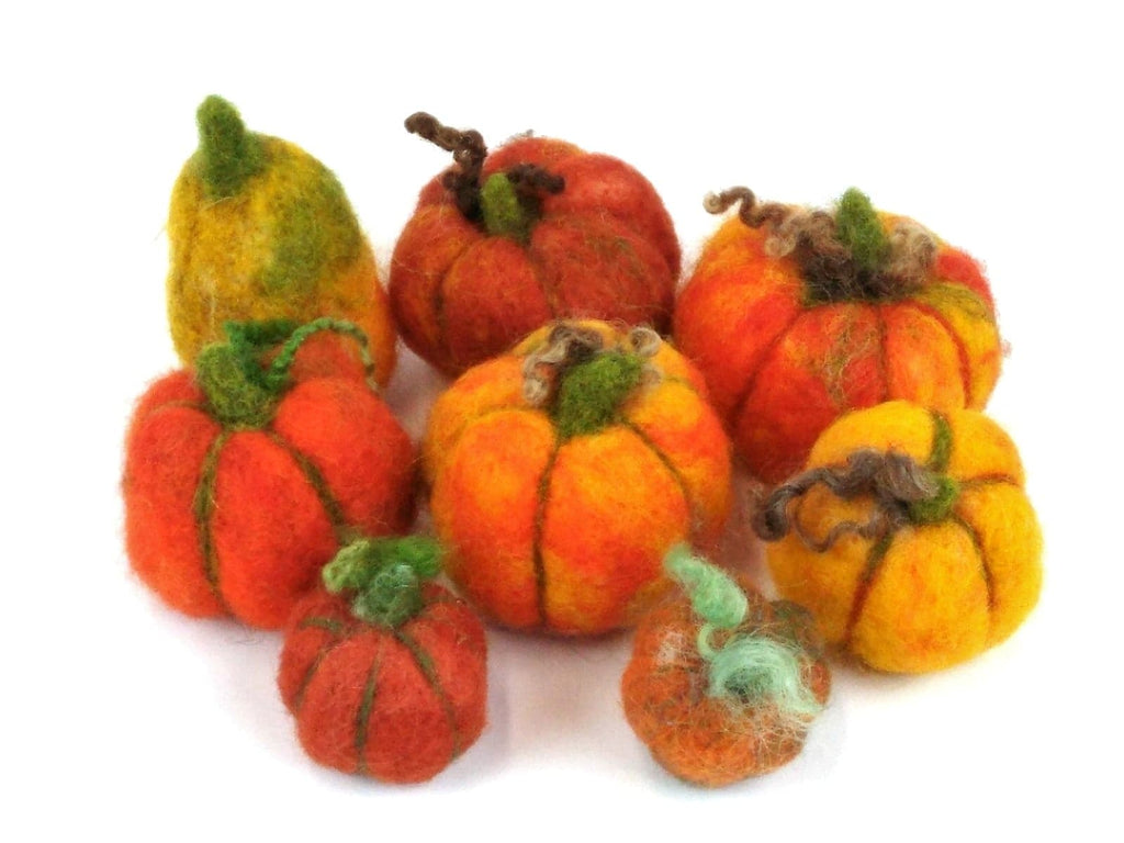 Pumpkin Needle Felting Pack makes over 30 mini pumpkins or 1 large one