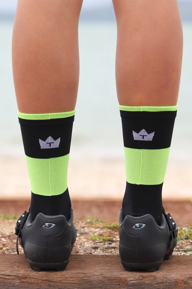 SUMMER WEIGHT CYCLING SOCKS - BLACK/FLURO