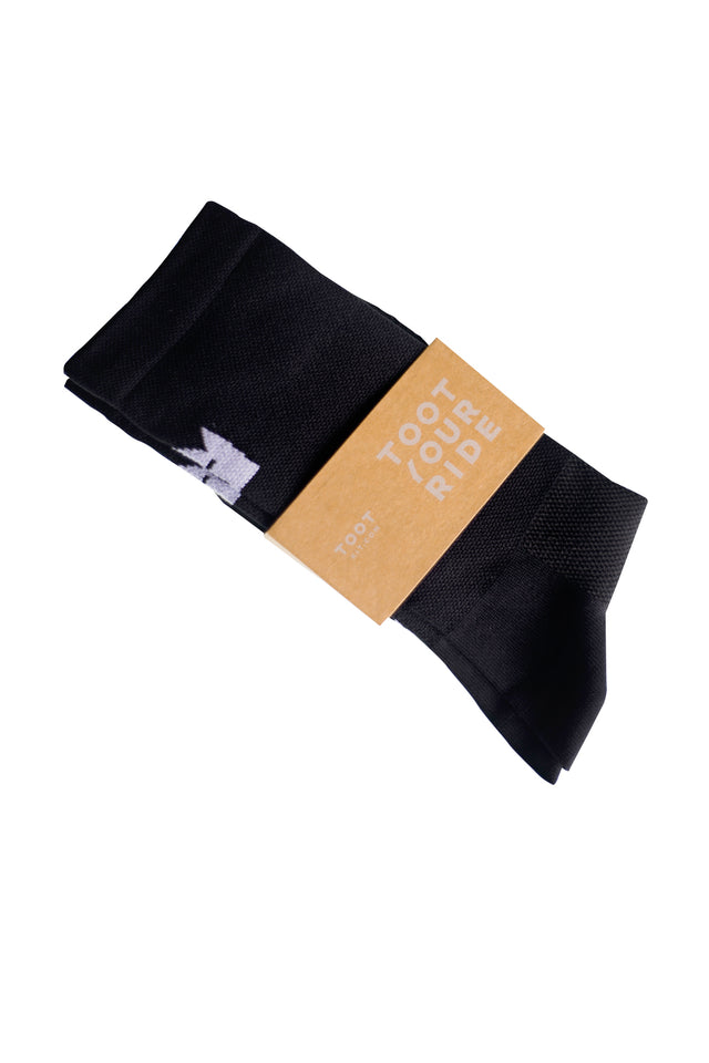 CYCLING SOCKS - BLACK WITH WHITE CROWN