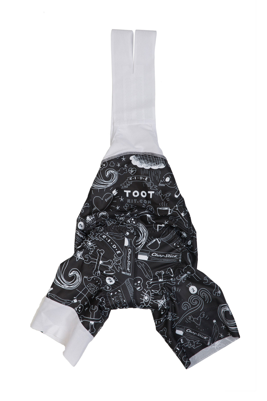 Black and White Womens Doodle Bibshorts