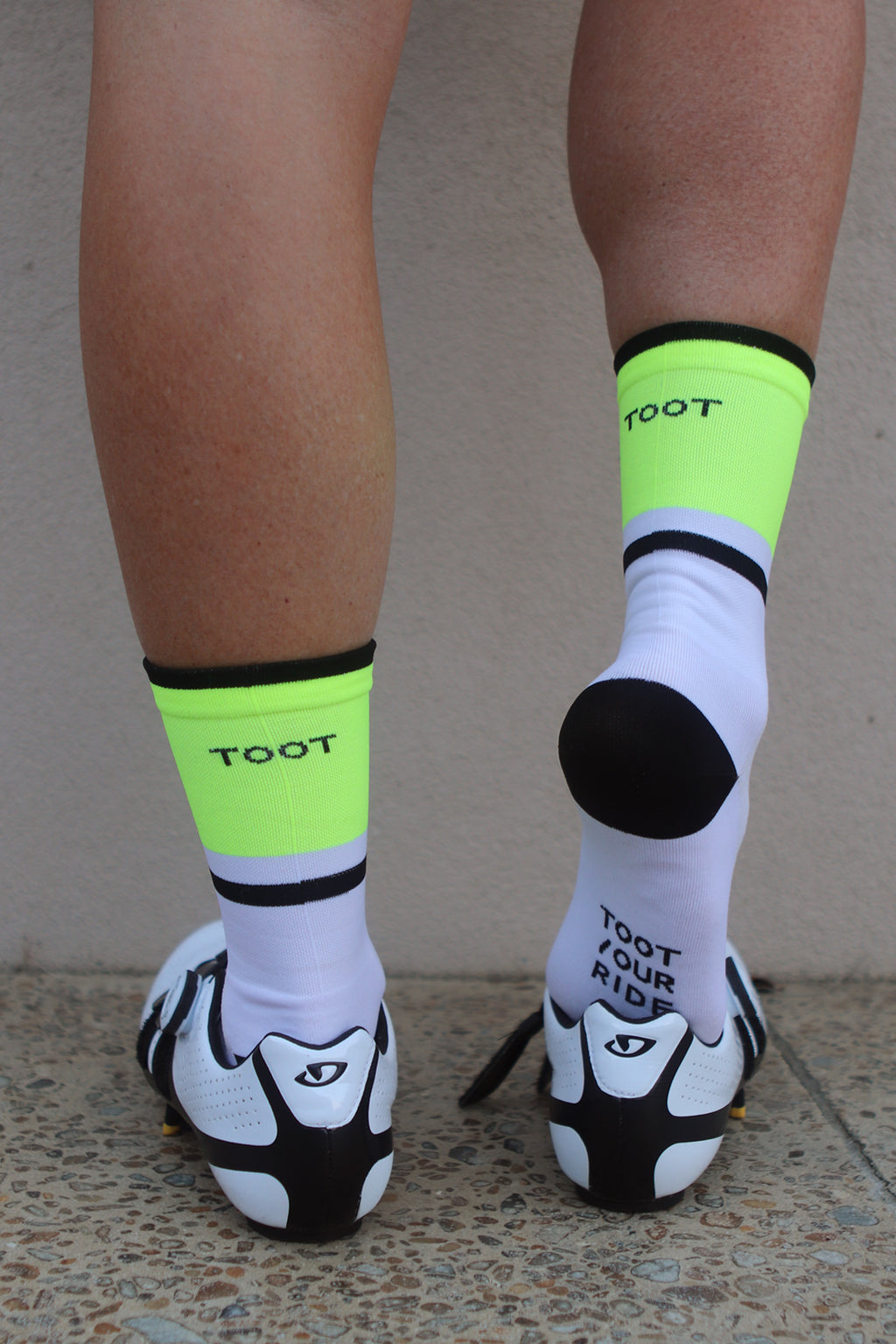 SUMMER WEIGHT CYCLING SOCKS - WHITE/FLURO/BLACK