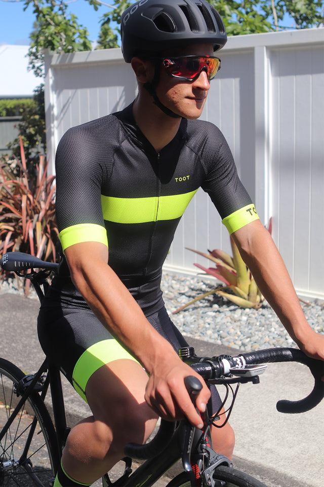 MENS PRO X JERSEY - BLACK WITH FLURO YELLOW