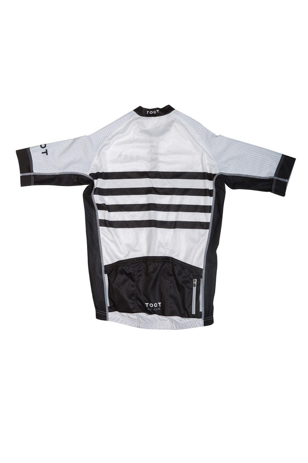 Mens White Cycle Jersey with Black Stripe