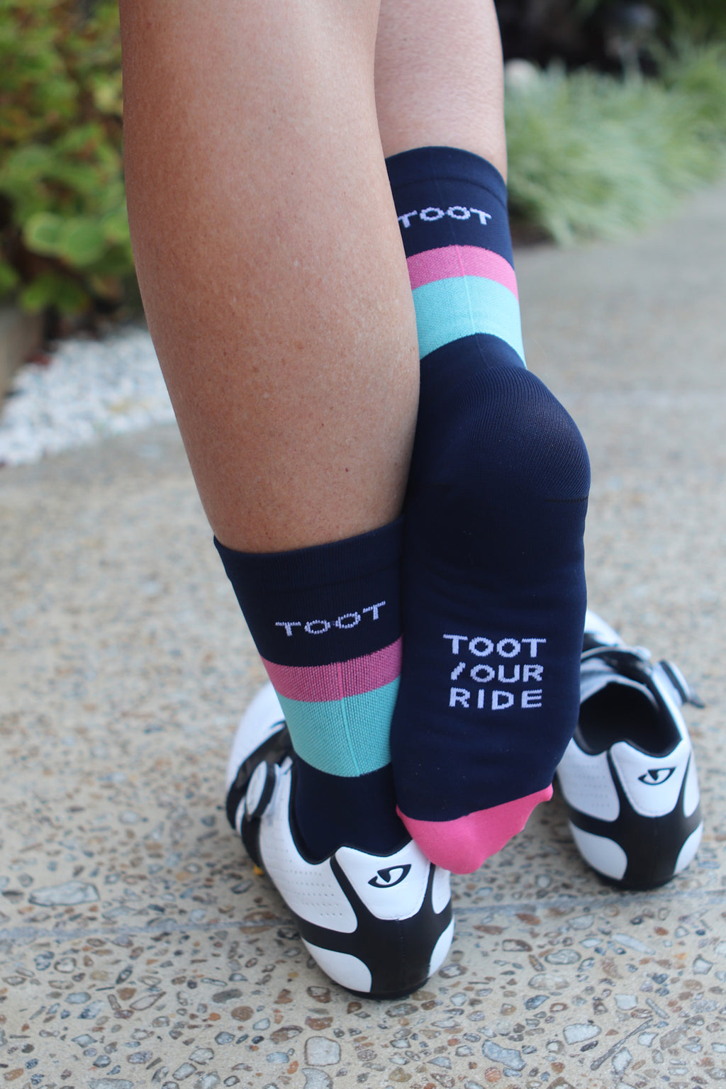SUMMER WEIGHT CYCLING SOCKS - NAVY/MELON/TEAL