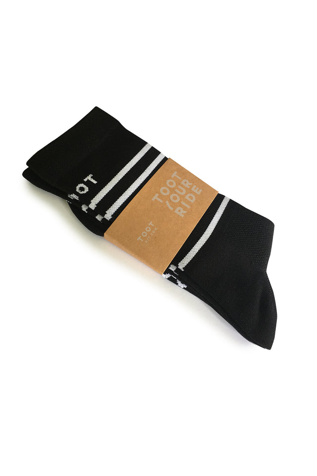 Black & White Stripe Cycling Socks
