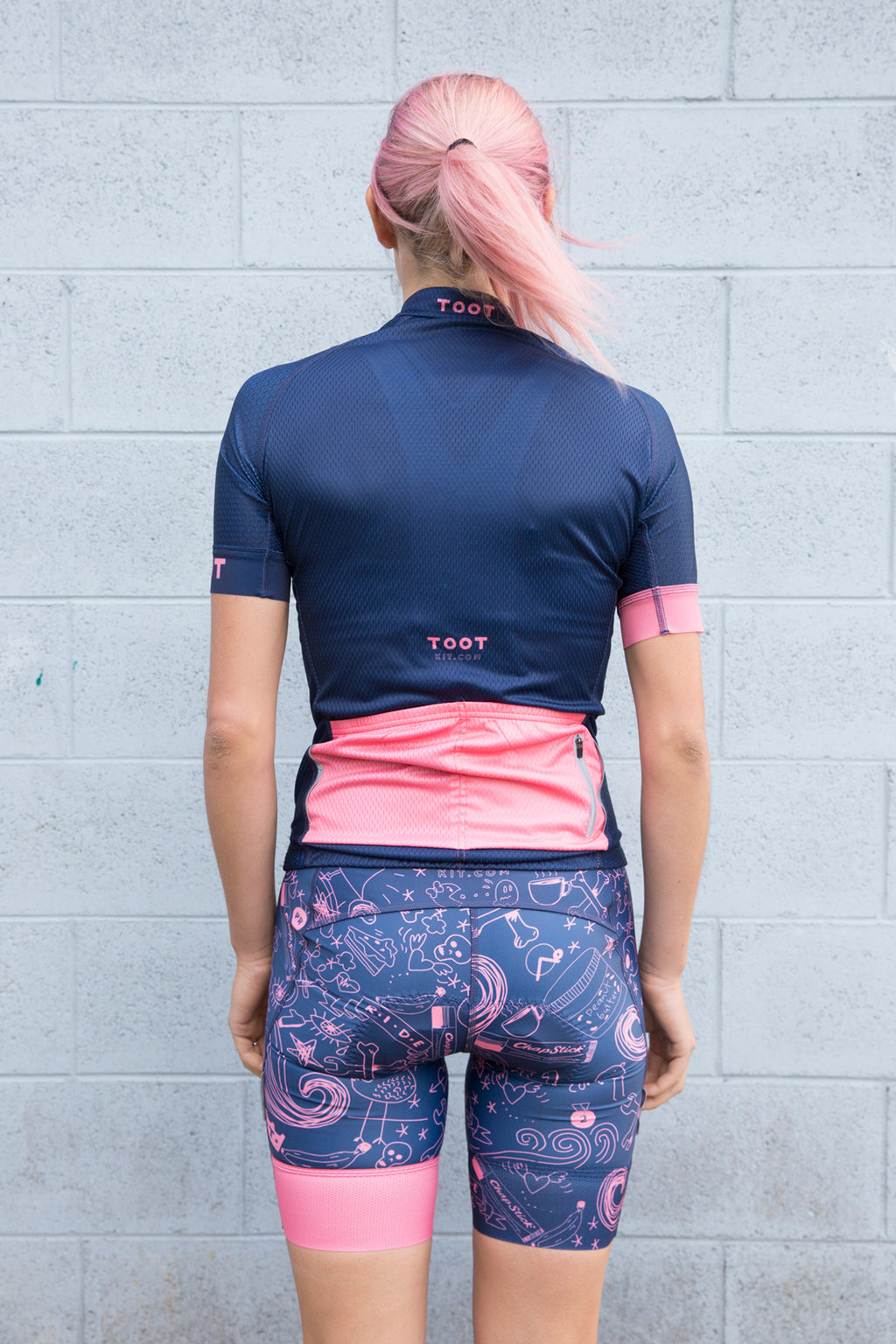 Womens Doodle Cycle Bibs Navy & Watermelon