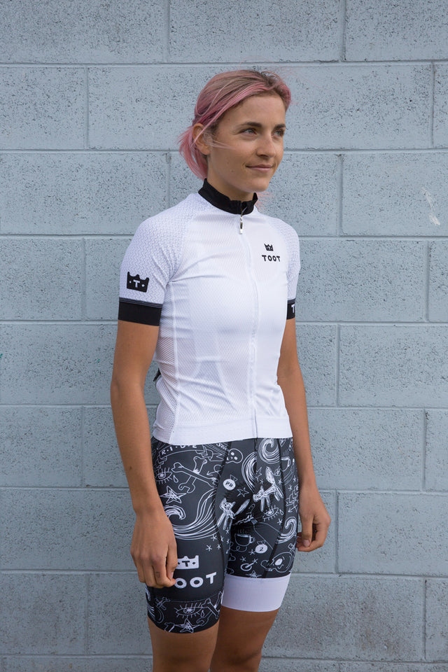 Womens Doodle Cycle Jersey Black and White