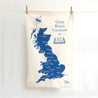 'Great British Locations for Book Lovers' Tea Towel