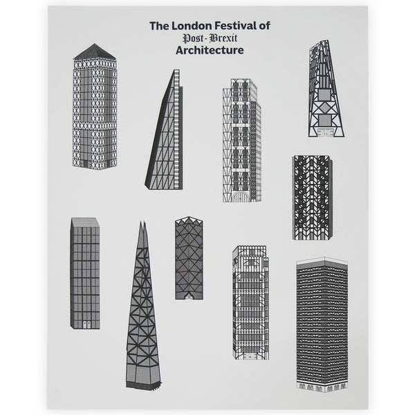 The London Festival of Post-Brexit Architecture Print - By Chris Ratcliffe