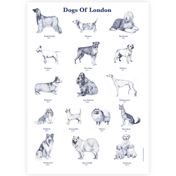 Dogs of London A3 Digital Print - By Anna Walsh
