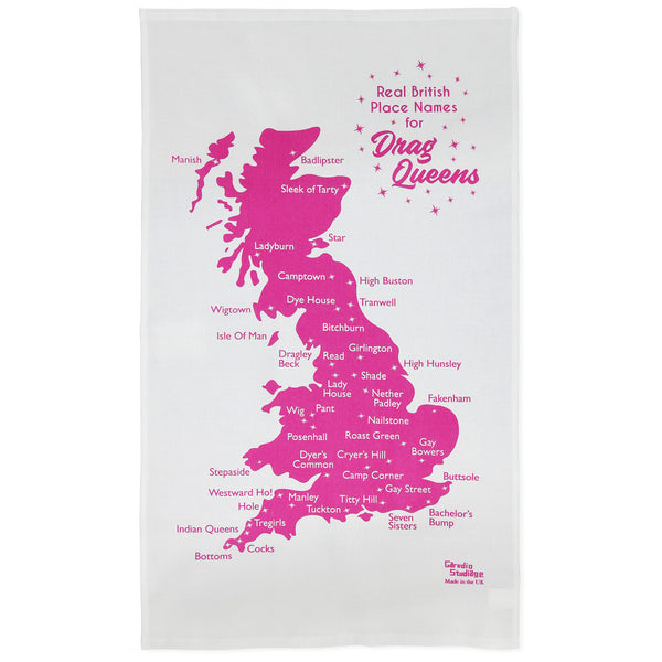 Real British Place Names for Drag Queens Tea Towel