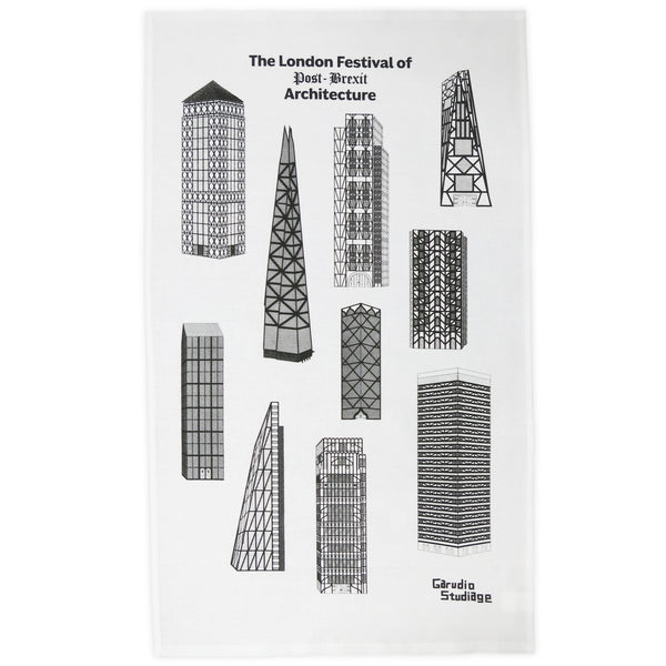 The London Festival of Post-Brexit Architecture Tea Towel