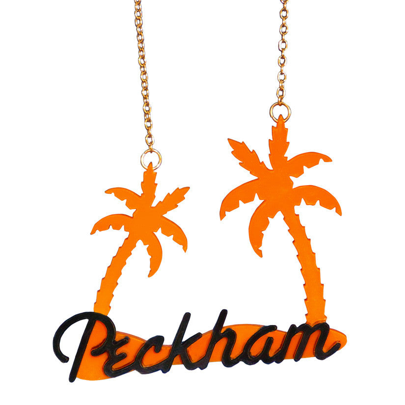 Peckham Jewels Palm Tree Necklace - Orange & Black