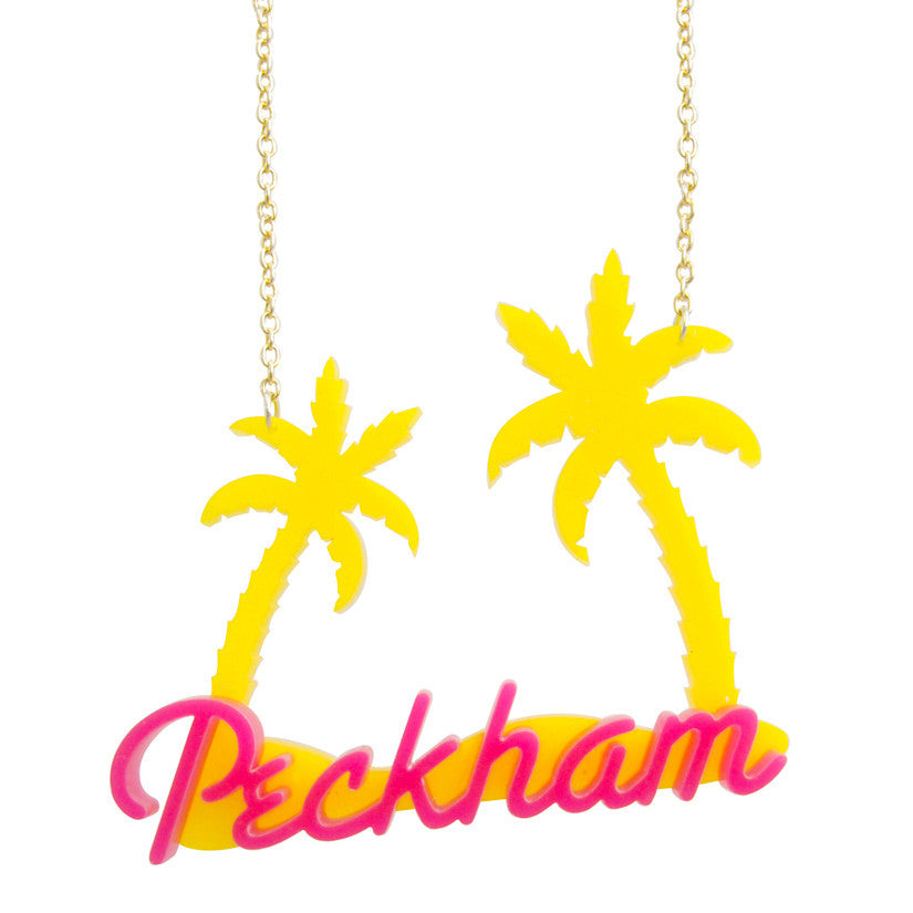 Peckham Jewels Palm Tree Necklace - Yellow & Pink