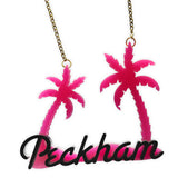 Peckham Jewels Palm Tree Necklace - Pink & Black