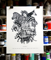 The Stripe Set Screen Print - By Anna Walsh