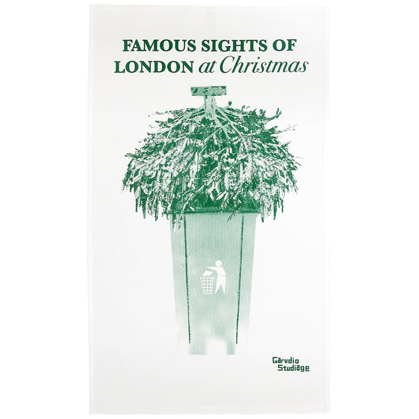 Famous Sights of Christmas London Tea Towel